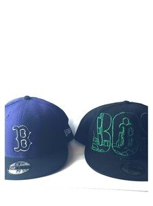 Pair of Boston Bs Fitted Hats 7 5/8 Purple & Green
